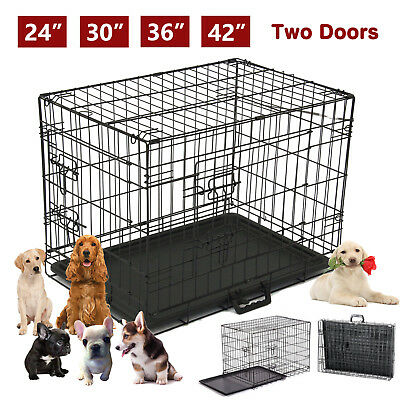 "42""/36""/30""/24"" Folding Cat Dog Crate Pet Kennel Metal Cage Tray Playpen 2 Doors"