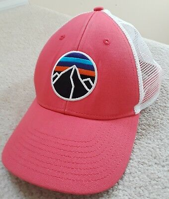 Patagonia Fitz Roy Emblem LoPro trucker mesh Hat rare Pink cap unisex  snapback 003ab62963a7
