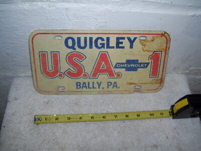 Vintage Quigley U-S-A-1 Bally , PA Chevy Dealer Vanity Plate