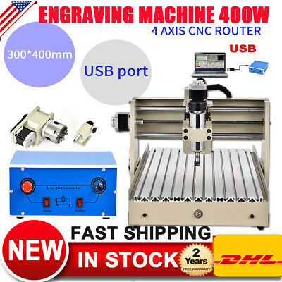 USB 4 Axis 400W CNC Router 3040 Engraver Machine Drill Cutting Carving Desktop