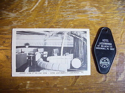 HOTEL LACKAWANNA Carbondale Pa. ROOM KEY FOB & POSTCARD
