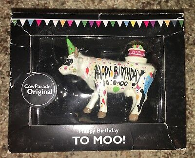 New In Box Cow Parade Happy Birthday To Moo! Figurine