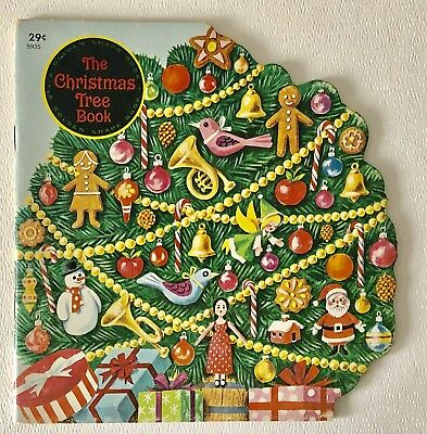 1966 Vintage The Christmas Tree Book Golden Press Childs Illustrated Shape Book