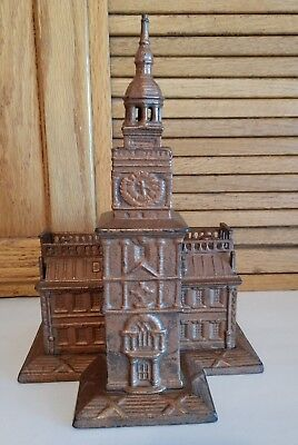 Cast Iron Independence Hall Building Still Bank By Enterprise Mfg Co - Cira 1876