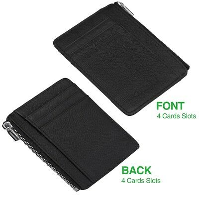 SLIM Credit Card Holder with RFID Blocking & [Anti-Scan] Leather Wallet for Men