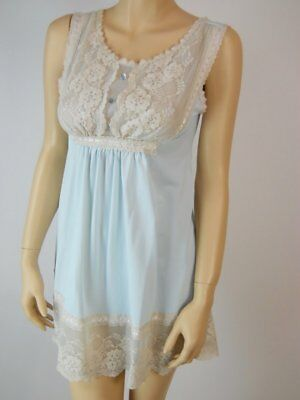 Vintage Gilead Nylon Nightgown S - M blue babydoll short nighty wide  lace #770
