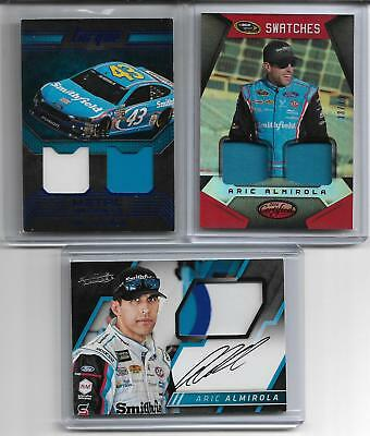 2017 Absolute Aric Almirola 3 Color Race Used Sheet Metal Auto + 2 Relic Cards
