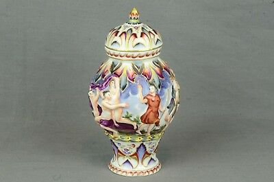 Antique Capodimonte Urn Vase Nude Bodies Design - Rare Mark Of Crown W/4 Prongs