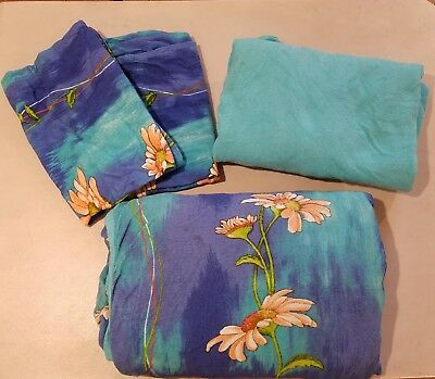 4 Piece Full Bedding Set: Quilt Two Pillow Shams Fitted Sheet Blue Floral