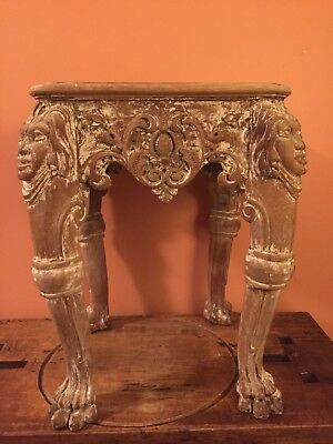 Antique Table With Hand Carved Faces and Paw Feet