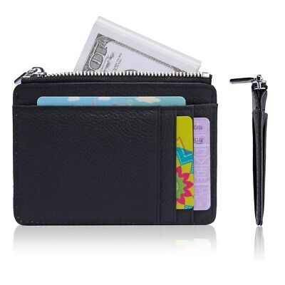 Anti-theft Slim Wallet RFID Front Pocket Wallet with Zipper Card Holder for Men