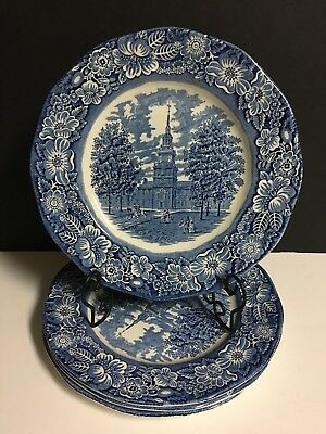Lot of 4 Vintage Staffordshire Liberty Blue Dinner Plates--Independence Hall-
