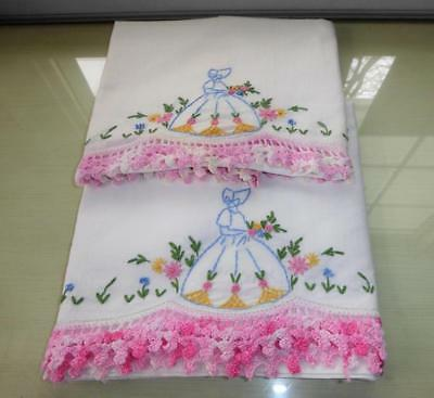 Vintage Pr Hand Embroidery Southern Belle Cotton Pillowcases Crocheted Lace Edge