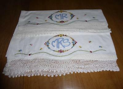 Vintage Pr Hand Embroidery Mr. & Mrs. Cotton Pillowcases Crocheted Lace Edge
