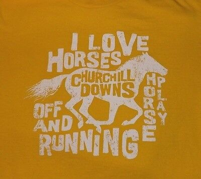 Tshirt T Shirt Horse Racing Churchill Downs yellow autographs on back child Med