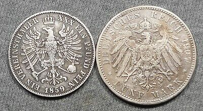 Lot Of 2 German States Silver Coins -Prussia 1859A Thaler & Bavaria 1907D 5 Mark