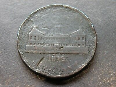 Great Britain Birmingham Workhouse Two Penny Copper Coin Token Antique 1812 Lot