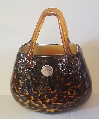 Block Crystal Art Glass MOUTH BLOWN Leopard Style Handbag Purse Figurine
