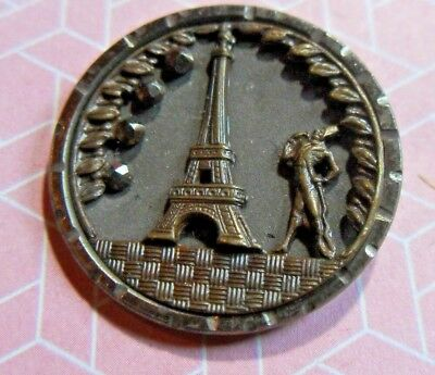 Antique Vintage Beautiful Eiffel Tower Picture Button
