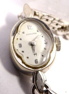Vintage HAMILTON 22 Jewel Adj Ladies Wind Wrist Watch 761 runs white 10 K RGP