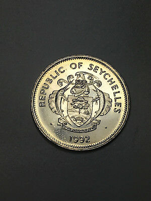 1992 Republic of Seychelles 1 Rupee Proof Coin-Turtle in Coat of Arms, Shell
