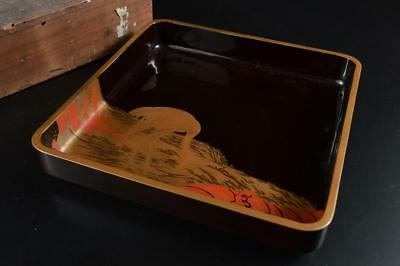G4265: Japanese WOODEN TRAY/plate Senchabon Bird Wave gold lacquer pattern