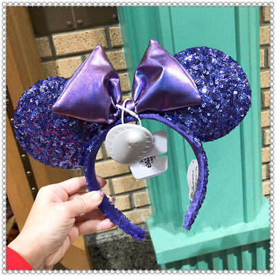 NEW Disney Parks Purple Minnie Mouse Bow Sequins Ear Headband Ears