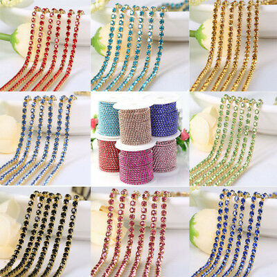 1M 2/2.5/3mm Rhinestone Crystal Trim Jewelry Craft Close Cup Chains String Trim