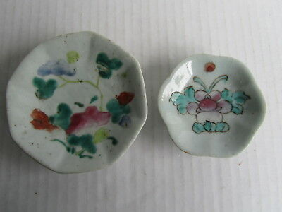 2 Antique Chinese Late Qing Dynasty Porcelain Famille Plates