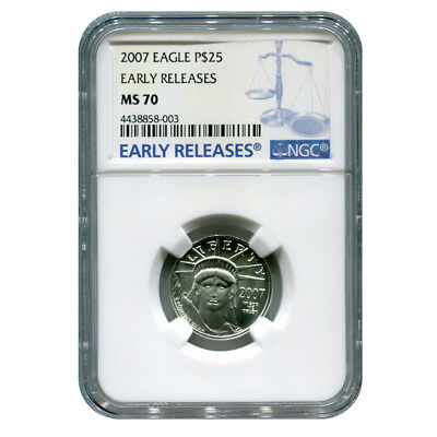 Certified Platinum American Eagle 2007 Quarter Ounce MS70 Early Release NGC