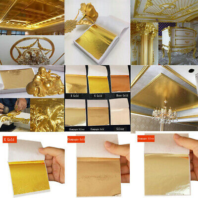 4345f3f96 50/100sheets Imitation Gold Silver Copper Leaf Foil Paper Gilding Craft  Sheets