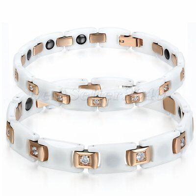 Men Women Fashion Stainless Steel CZ Magnetic Health Chain Ceramic Bracelet 7.6""