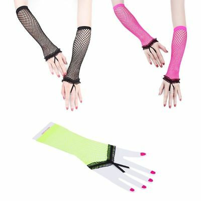 Women Hollow Out Sheer Punk Elbow Long Fingerless Gloves Fishnet Party Mittens