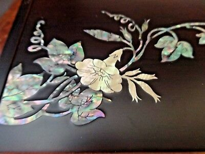Vintage Korean Pen Box Mother of Pearl Dragonfly Inlays