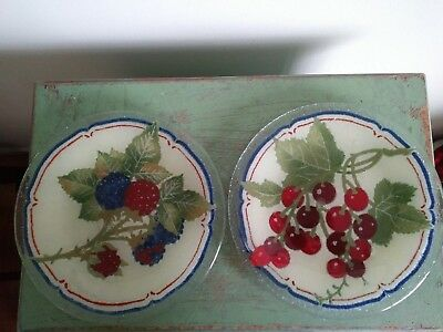 "Peggy Karr Fused Art Glass Pair Rasberry And Cherry French Country 8"" Plates"