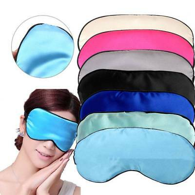 1PC Sleep Padded Blindfold Eye Mask Pure Shade Silk Cover Travel Relax Aid New