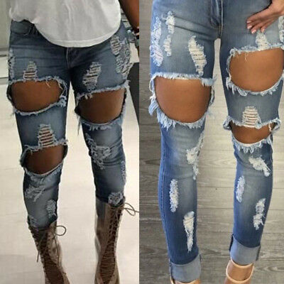 Women Lady Stretch Ripped Skinny High Waist Denim Pant Distressed Jeans Trousers
