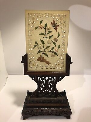 Chinese Jade Stone Tablet Panel Flower Inlay Table Screen Carved Wood Plaque