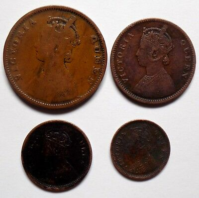 1862 : 4 COPPER# HALF ANNA, 1/2 Rs, 1/4 Rs. & 1/12 Rs BRITISH INDIA LUSTER COINS