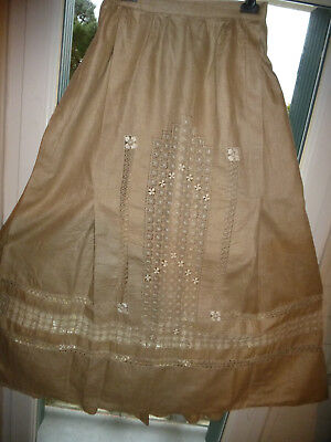 Superbe Jupe Ancienne 1900 Lin Grege Longue Plissee Brodee  Bourgeoise Clisson S