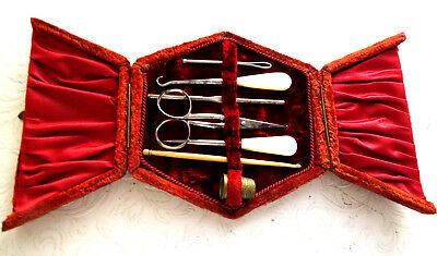 Antique Fitted Sew Kit, Pearl Stiletto,button Hook,thimble,scissors,crochet.
