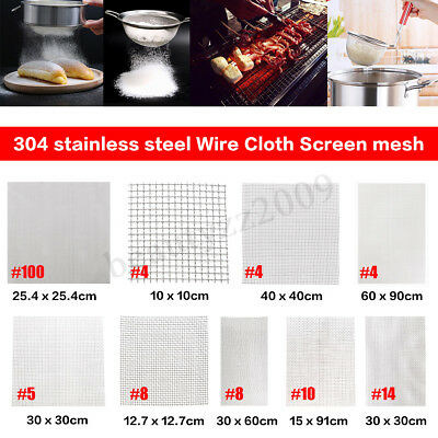 304 Mesh Stainless Steel Wire Cloth Screen Filter #4/5/8/10/14/16/20/30/100 New