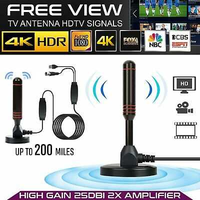 4K Portable Freeview HD TV Antenna Aerial Indoor 200 Miles Digital 1080P Cable