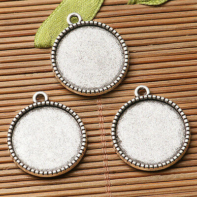 6pcs dark silver color floral rim  round cabochon setting in 18mm EF3281