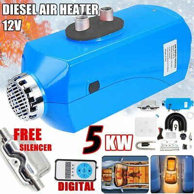12V 5KW Air Heater Tank LCD Silencer Vent 5000W  Planar For Truck RV UK Boats KO