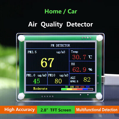 2.8'' TFT PM1.0 PM2.5 Detector Air Quality Tester Meter Gas Monitor Home Car