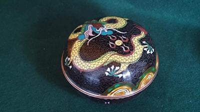 Late 19th Century Antique Chinese Cloisonné Box: Black Ground w Yellow Dragon