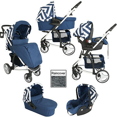 My Babiie Mb200+ Travel System Blue Chevron Pram / Pushchair Mode With Raincover