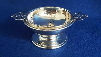 Top Quality Art Deco Hallmarked Sterling Silver Tea Strainer & Stand B'ham 1925