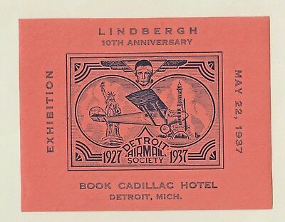 LINDBERGH 10th ANNIVERSARY- DETROIT AIRMAIL SOCIETY 1937 - AIRPLANE -CINDERELLAS